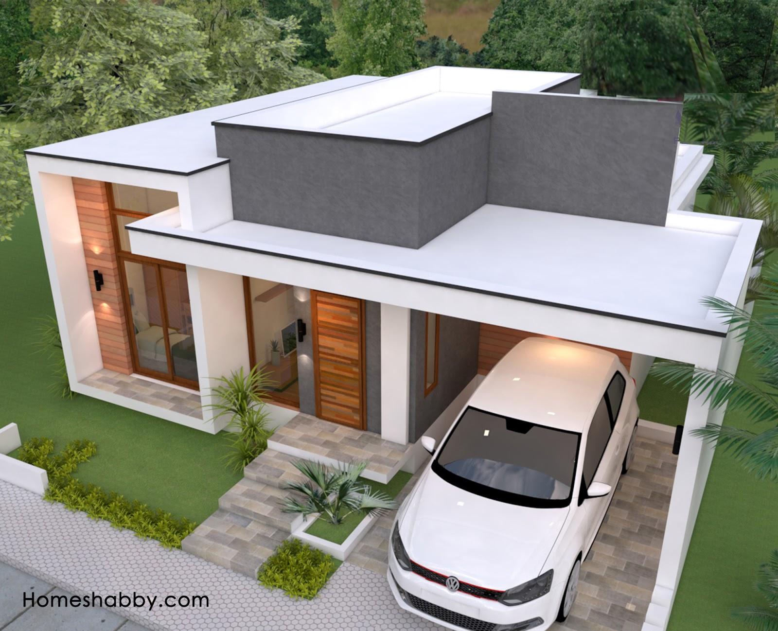 Desain Dan Denah Rumah Minimalis Modern Lengkap Dengan Mushola Serta 3 Kamar Tidur Ukuran Rumah 10 X 12 M Homeshabby Com Design Home Plans Home Decorating And Interior Design Atap dak beton minimalis