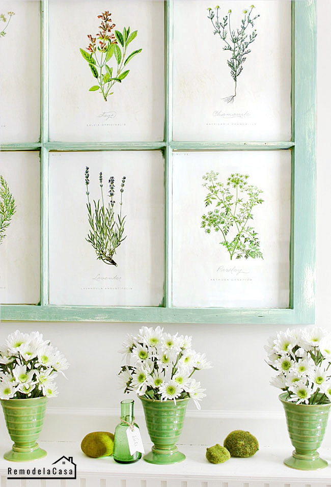 Spring mantel with old window  - botanical print display