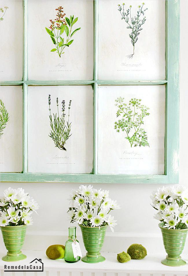 Spring mantel with old window  - botanical print display
