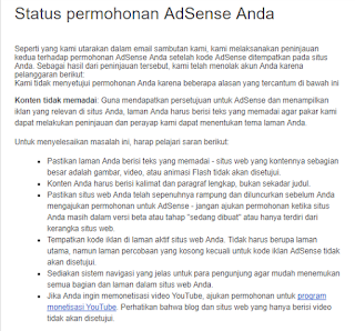 email penolakan google adsense, google adsense, blogging