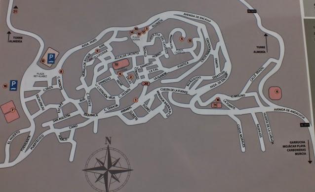 plano turístico con los lugares que ver en Mojacar