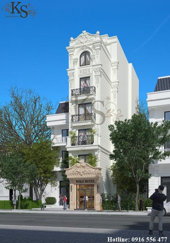 Hình ảnh: Thiết kế khách sạn mini không có ưu điểm về diện tích nên KTS Vip House tập trung lấy sáng ở mặt tiền thông qua hệ thống cửa làm bằng kính.