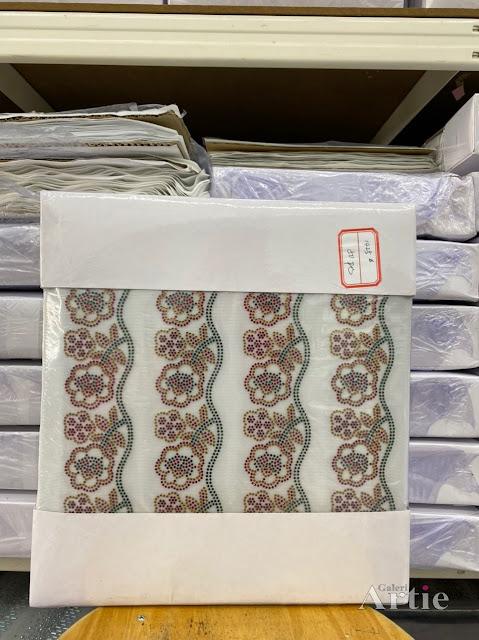 Pelekat hotfix sticker rhinestone DMC aplikasi tudung, bawal fabrik pakaian motif bunga besar