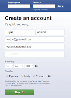select your date of birth for fb account