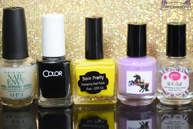 O.P.I Original Nail Envy, Color Club Where's The Soiree, Born Pretty Store Yellow Stamping Polish, Nail Experiments Easy Peel Latex Barrier, Glisten & Glow HK Girl Fast Drying Top Coat