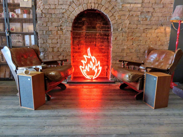 Faux neon fireplace at 200 Degrees Coffee and Barista School in Birmingham, England