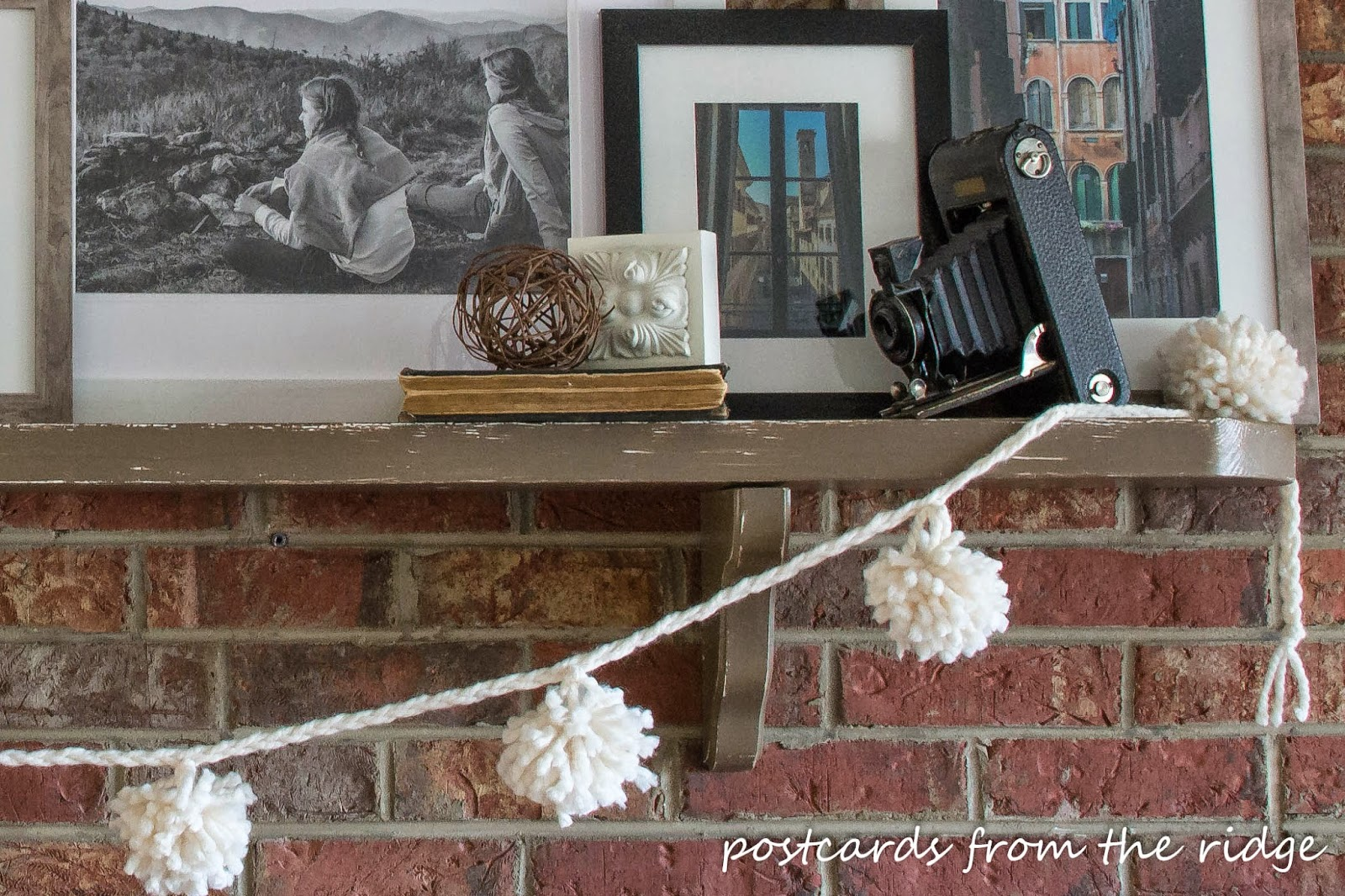 mantel with pom pom garland
