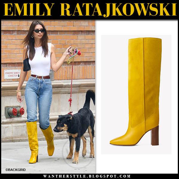 emily ratajkowski in yellow knee high