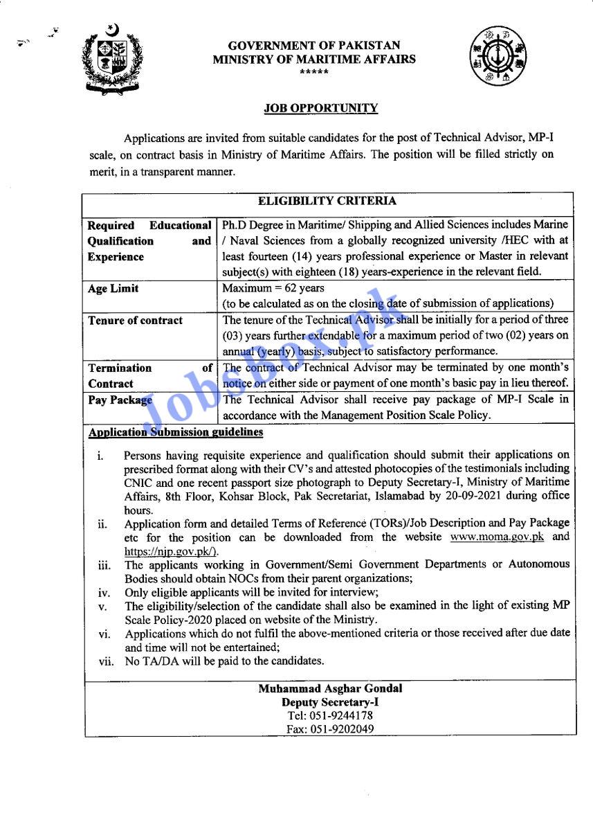 Ministry of Maritime Affairs Jobs 2021 – Application Form via moma.gov.pk