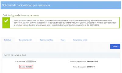 Guardados los datos de identificación, el sistema general automáticamente la solicitud de nacionalidad por residencia.