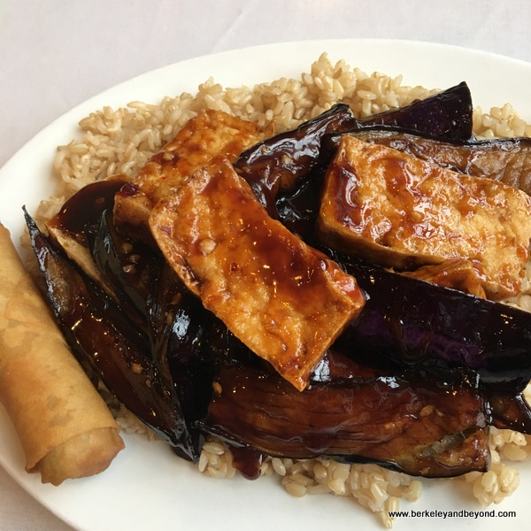 eggplant and tofu in garlic sauce at Long Life Vegi House in Berkeley, California