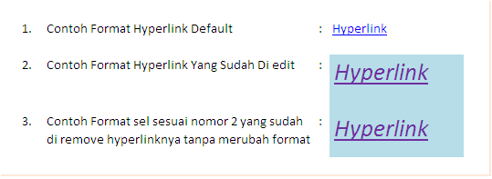 Cara Format Hyperlink Excel
