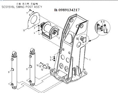 Tời chính- xy lanh nâng cần của Cẩu soosan 15 tấn SCS1516-SCS1616