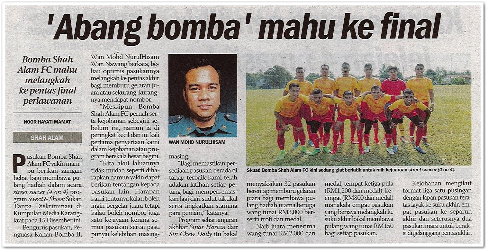 'Abang bomba' mahu ke final - Keratan akhbar Sinar Harian 10 November 2019