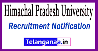 Himachal Pradesh University HPU Recruitment Notification 2017