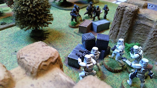 Stormtroopers defend against Rebel fire