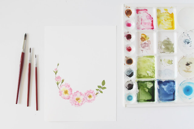 watercolor, roses, roses watercolor, watercolor wreath, botanical watercolor, Anne Butera, My Giant Strawberry
