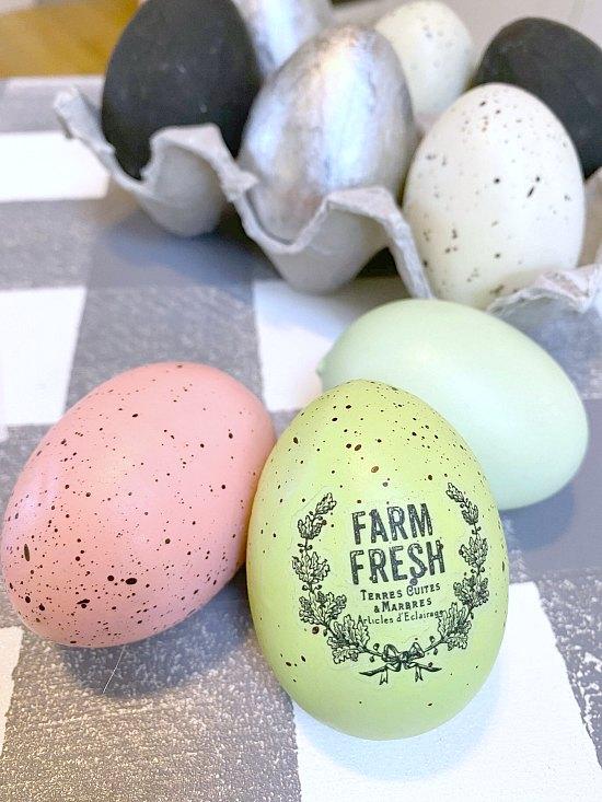 Adding farmhouse transfer to eggs