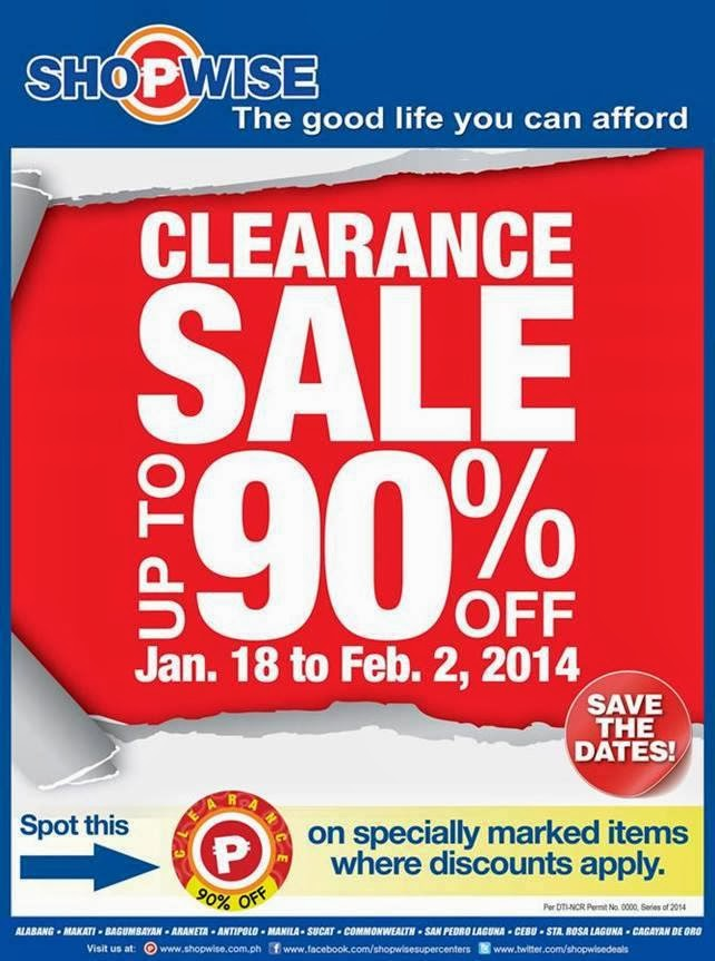 Manila Shopper Shopwise Clearance Sale Jan 2014