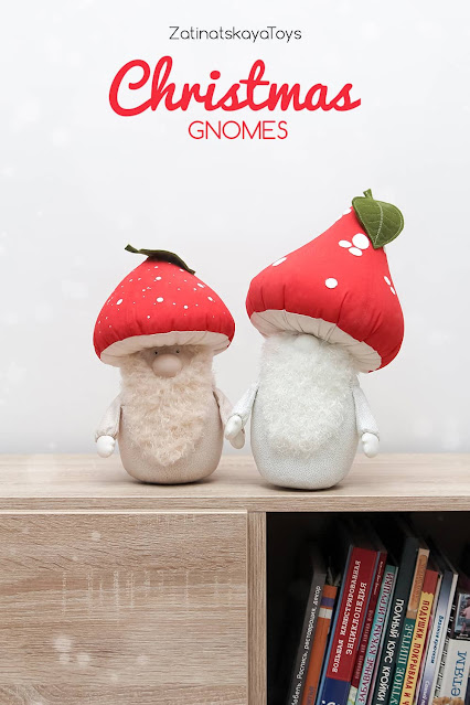 two Christmas gnomes with red mushroom hats on the shelf by sewing patterns of Zatinatskaya Natalia