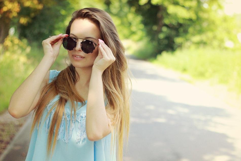 ☼ Błękitna bluzka w stylu BOHO.