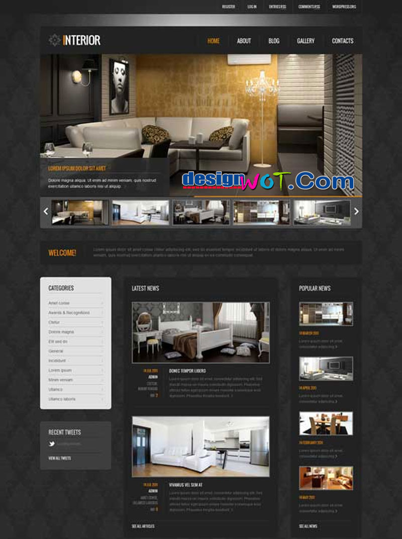 Interior Black Interior Design WordPress Theme