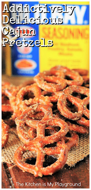 Addictively Delicious Cajun Pretzels ~ SUPER tasty mini pretzel twists seasoned with Old Bay, Ranch seasoning, and cayenne pepper. They're addictively delicious! Perfect for game day or any day snacking. #gameday #gamedaysnacks #cajunpretzels #oldbay www.thekitchenismyplayground.com