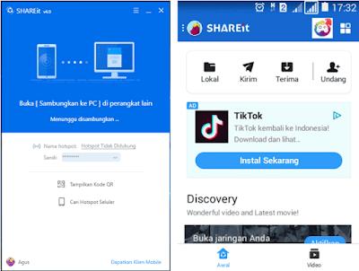 Contoh gambar ilustrasi tampilan shareit di laptop dan hp android