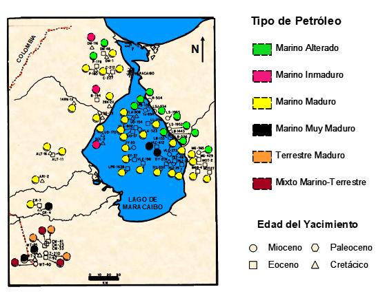 Cuenca del Lago de Maracaibo tipo de petróleo
