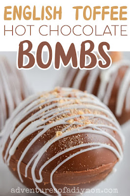 close up of a hot chocolate bomb with text overlay