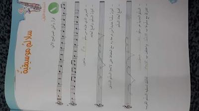 حل تمرينات تربية الموسيقية للصف تاسع الأستادة نوره الجبر