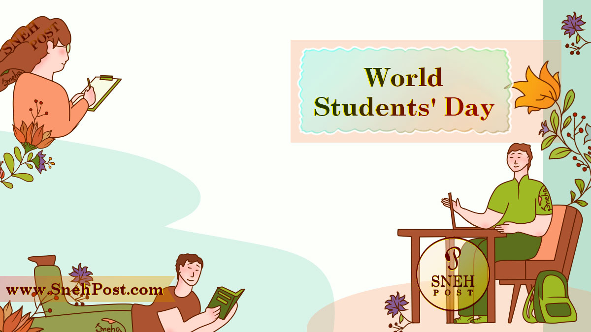 World Students Day illustration of studying children: A glasses wearing girl writing notes on a paper, a boy reading a book while laying on the floral ground, and a boy sitting on table and chair and learning from the laptop.