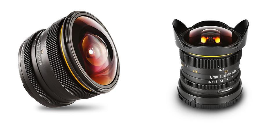 Объектив Kamlon 8mm f/3.0 с блендой и без