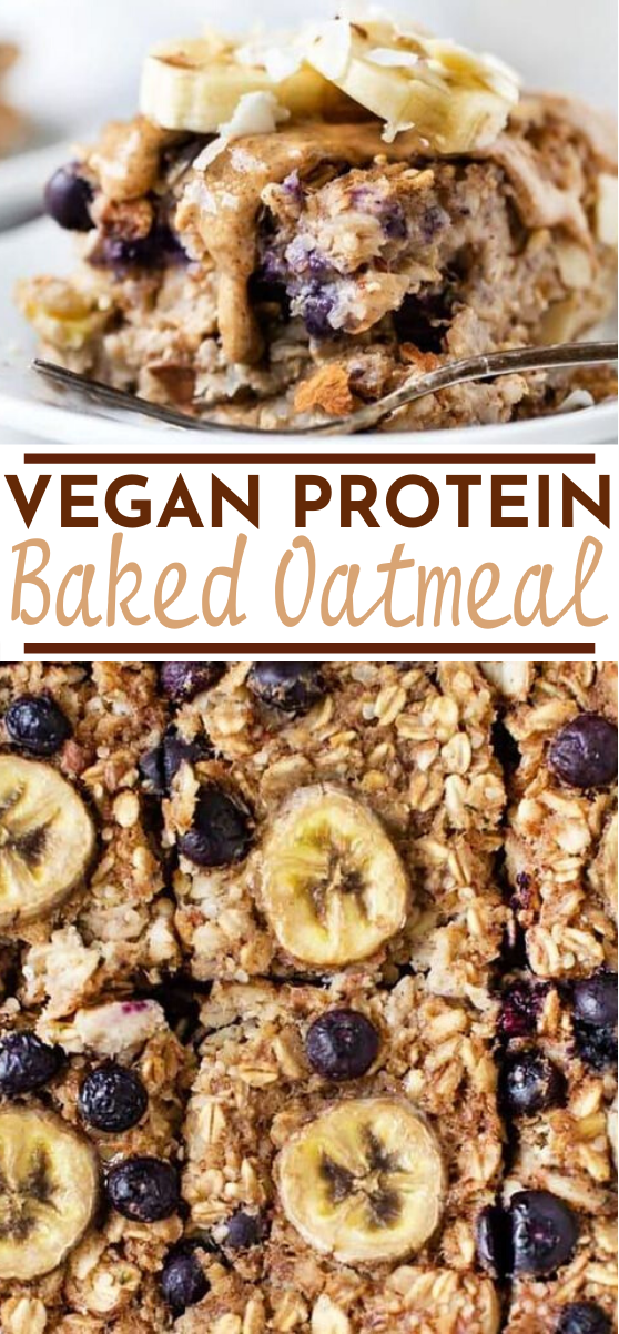 Protein Baked Oatmeal with Bananas and Blueberries #vegan #breakfast #healthy #highprotein #oatmeal