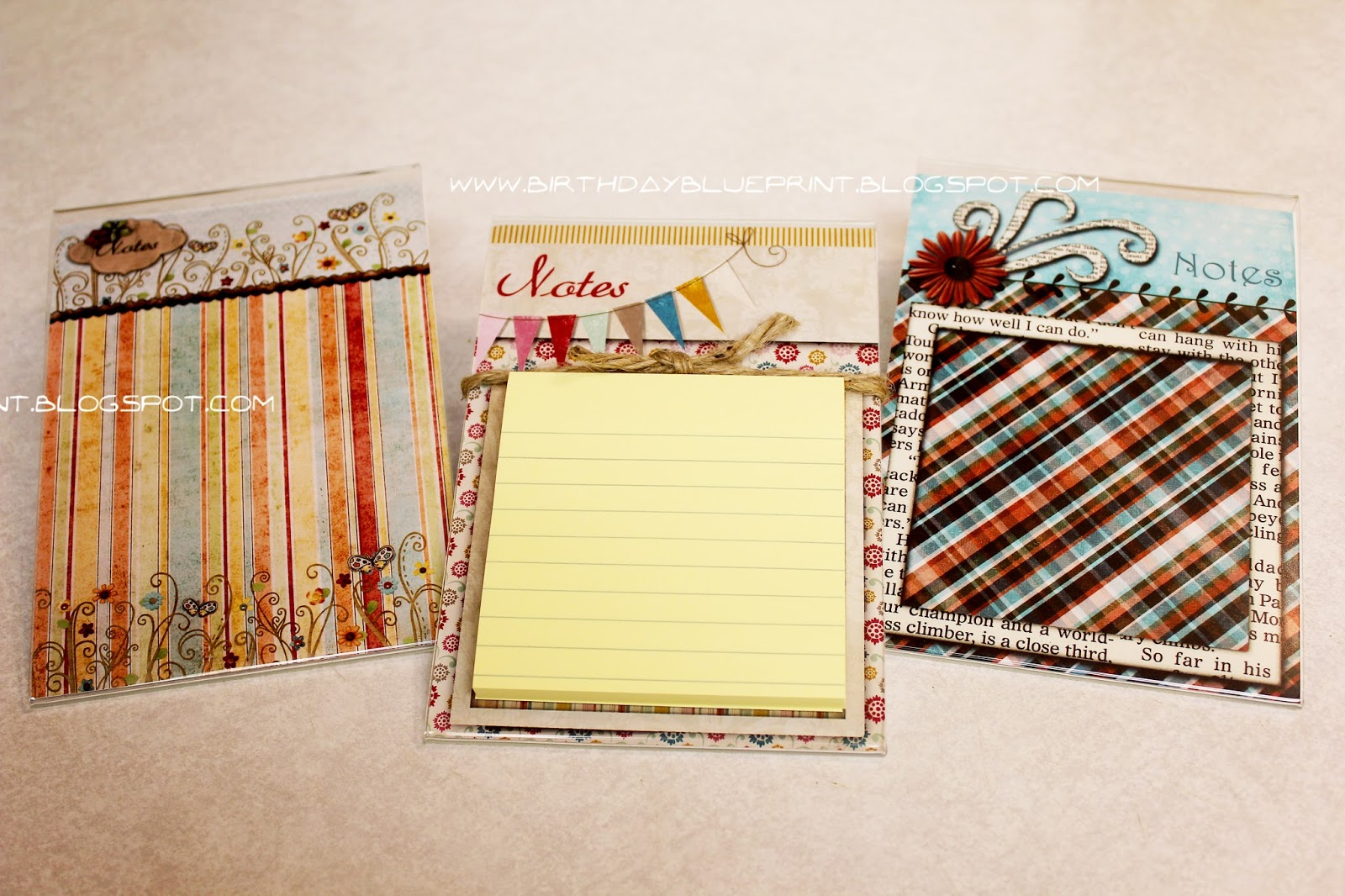 Birthday blueprint memo pad holder holders are made from 5x7 clear acrylic photo frames i got these at walmart and i think they were 2 each then i just used my digital scrapbook stash malvernweather Image collections