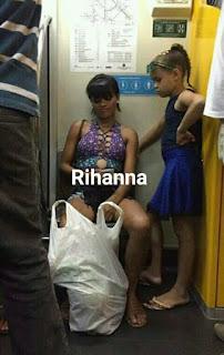 Parecidos de famosos en el transporte público rihanna