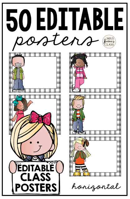 Editable Classroom Posters / Charts featuring Melonheadz Kidlettes! Type in whatever you like! Use to make classroom signs, learning standards, center instructions, notes, binder covers, anything at all! #classroomsetup #classroom #classroomdecor #kindergarten #1stgrade