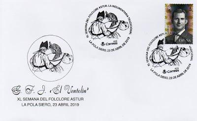 Sobre del matasellos de la Semana folclórica de El Ventolín, 2019