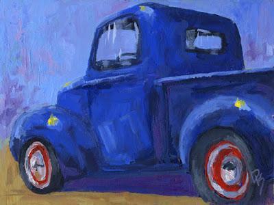 acrylic impressionist painting automotive art pickup truck