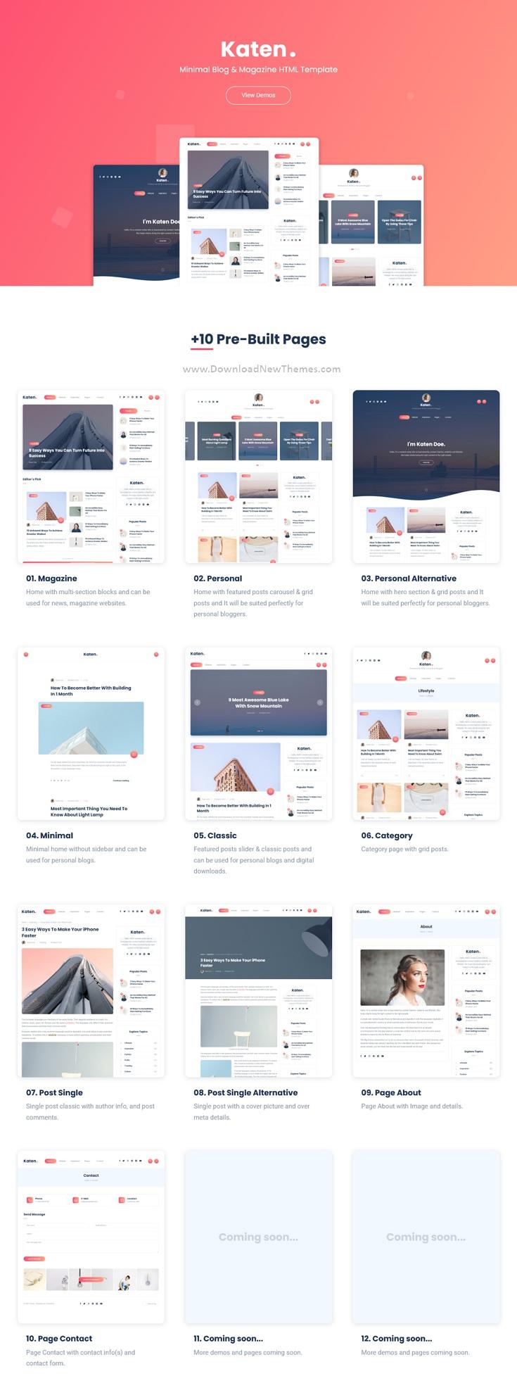 Minimal Blog & Magazine HTML Template