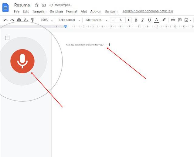 klik icon mikrofon, mulai mendikte, dan hasilnya muncul di lembar resume