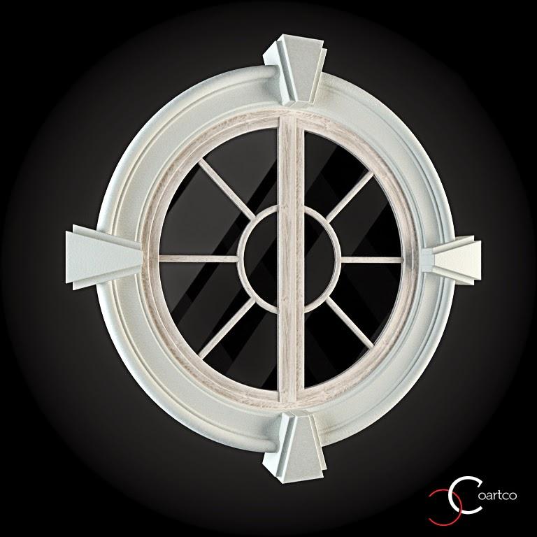 Ornameate Geamuri Rotunde Exterior, fatade case cu profile decorative polistiren, profile fatada,  Model Cod: WIN-007