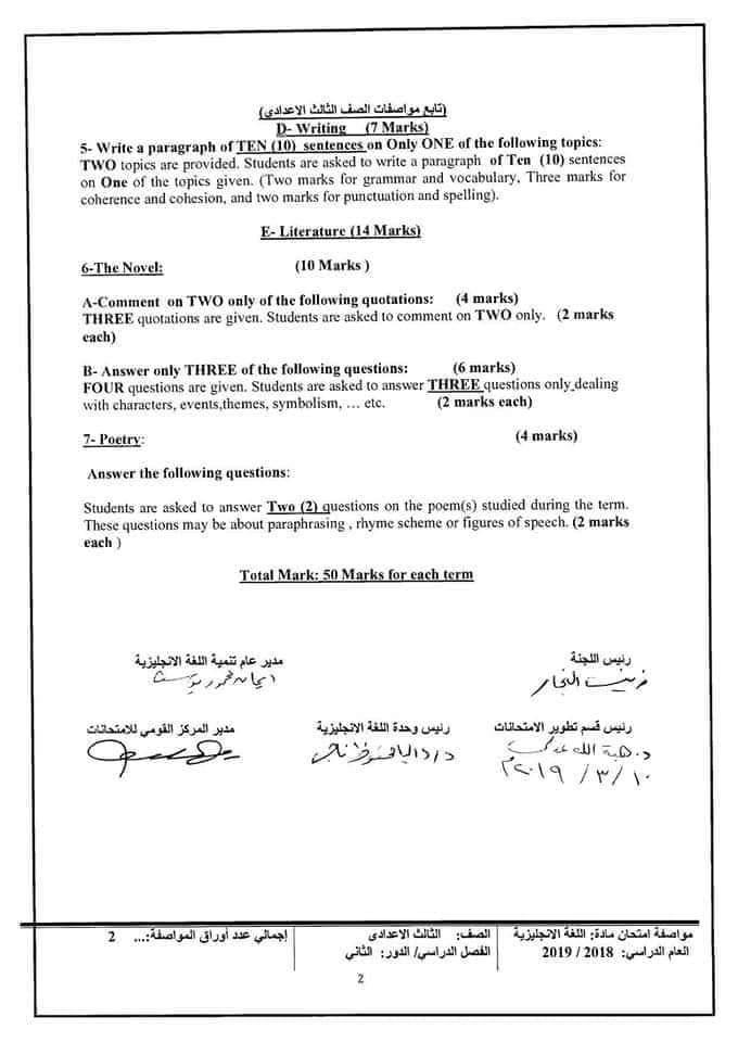 مواصفات الورقة الامتحانية لجميع المواد (ابتدائى - اعدادى - ثانوى) ترم ثانى 2019  FB_IMG_1554502406304