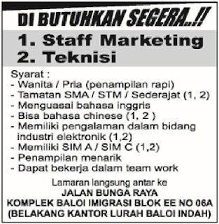 Loker Staff Marketing dan Teknisi
