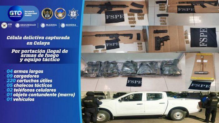 Detienen a 5 Sicarios del CJNG en Celaya; les aseguran arsenal y vehículo