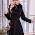 Palton dama negru lung elegant cu guler din blana naturala de vulpe reducere