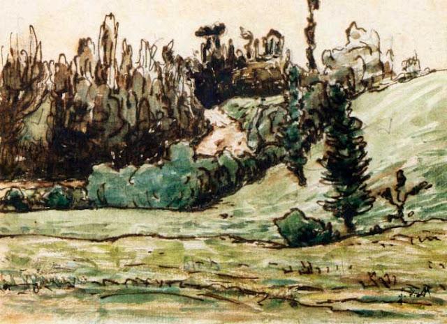 Жан Франсуа Милле - Лесистый склон близ Виши