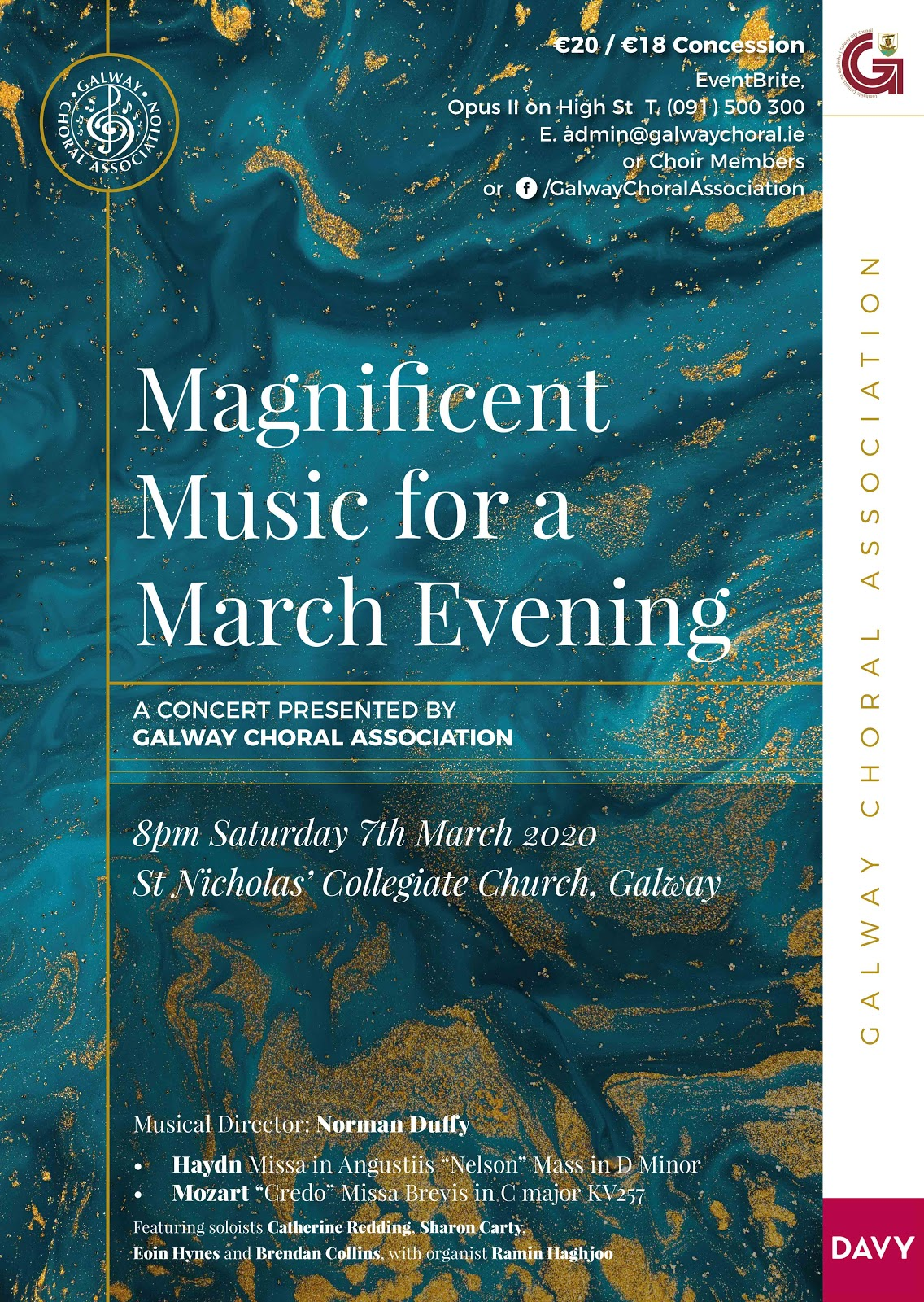 Haydn Missa in Angustiis (Nelson Mass) and Mozart Credo Mass in C major K. 257 - concert performance in Galway city in March 2020