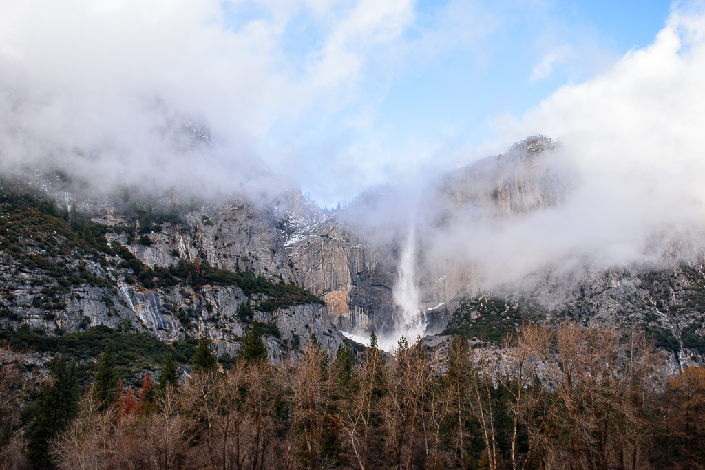 Waterfall and clouds in yosemite national park in the winter