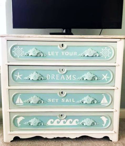 Nautical Coastal Theme Motif Painted Drawers Dresseer
